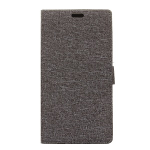Cloth Texture Leather Wallet Stand Case for Lenovo P2 - Grey