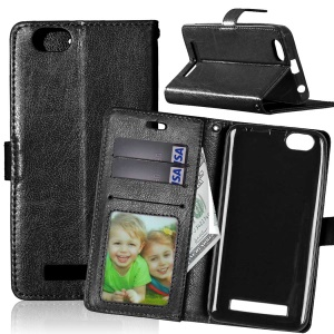Crazy Horse Wallet Leather Stand Case for Lenovo Vibe C A2020 - Black