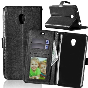 Wallet 3 Card Slots Leather Case for Lenovo Vibe P1 / P1 Turbo Crazy Horse Texture - Black