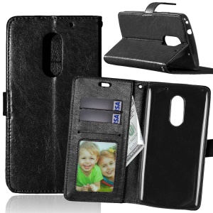 Crazy Horse Wallet Leather Stand Case for Lenovo Vibe X3 - Black
