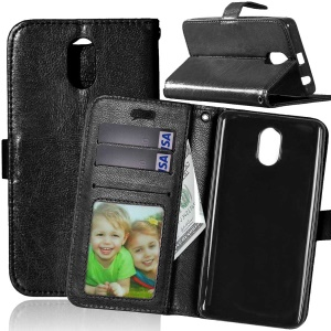 3 Card Slots Crazy Horse Wallet Leather Case Stand for Lenovo Vibe P1m - Black