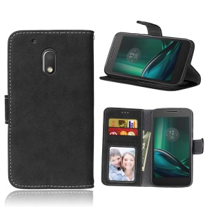 For Motorola Moto G4 Play Vintage Style Matte Wallet Leather Phone Cover - Black