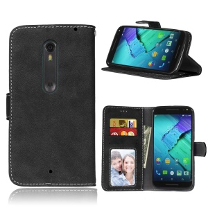 Vintage Style Matte Wallet Leather Phone Cover for Motorola Moto X Style - Black