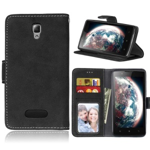 For Lenovo A2010 Vintage Matte Surface Leather Stand Cell Phone Cover - Black