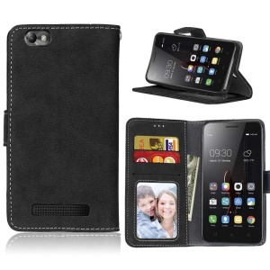 Retro Matte Surface Leather Wallet Phone Case for Lenovo Vibe C A2020 - Black