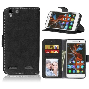 Retro Matte Surface Leather Stand Flip Cover for Lenovo Vibe K5 / K5 Plus - Black