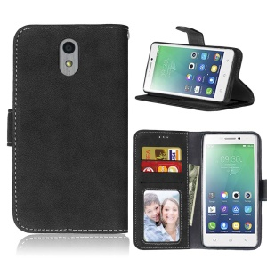 For Lenovo Vibe P1m Vintage Matte Surface Leather Wallet Protection Case - Black