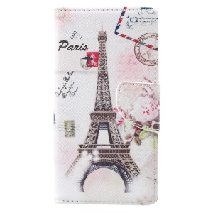 Pattern Printing Wallet Leather Mobile Cover with Stand for Lenovo Vibe C2 - Eiffel Tower