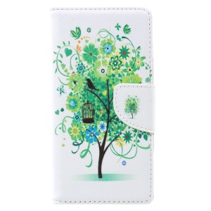 Pattern Printing Leather Wallet Phone Casing for Lenovo Vibe C2 - Green Tree