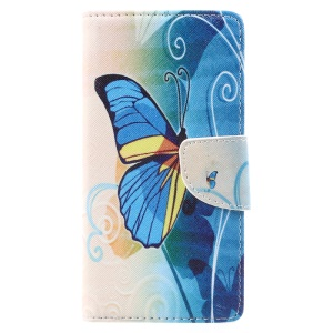 Patterned Leather Wallet Stand Cellphone Case for Lenovo Vibe C2 - Blue Butterfly