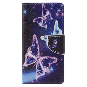 Pattern Printing Wallet Leather Cover Case for Lenovo Vibe C2 - Vivid Butterflies
