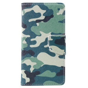 For Lenovo Vibe C2 Pattern Printing Wallet Leather Stand Cover - Camouflage Pattern