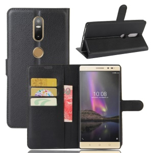 Lychee Grain Wallet Leather Stand Cover for Lenovo Phab2 Plus - Black