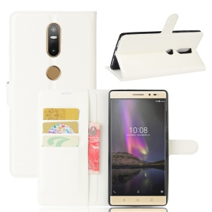 Lychee Grain Wallet Leather Mobile Case for Lenovo Phab2 Plus - White