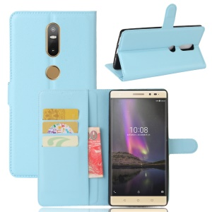 Lychee Grain Leather Stand Cell Phone Case for Lenovo Phab2 Plus - Green