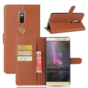 Lychee Grain Wallet Leather Phone Case Accessory for Lenovo Phab2 Plus - Brown
