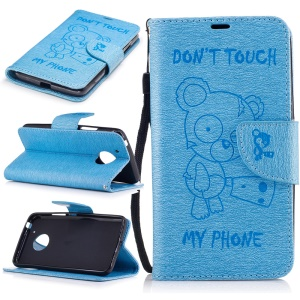 Imprint Bear Magnetic Leather Stand Case for Motorola Moto G5 - Baby Blue