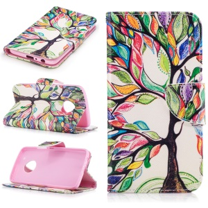 Pattern Printing Leather Wallet Cover for Motorola Moto G5 Plus - Colorized Tree