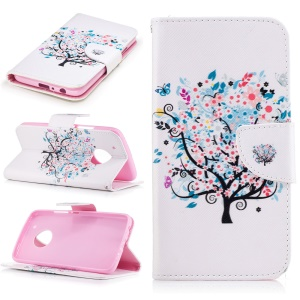 Pattern Printing Leather Card Holder Case for Motorola Moto G5 Plus - Flowered Tree