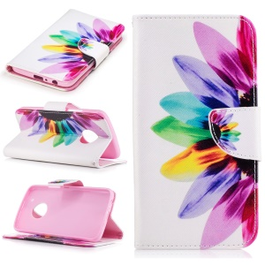 Pattern Printing Magnetic Leather Wallet Case for Motorola Moto G5 Plus - Colorful Petals