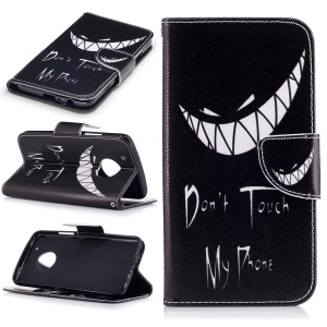 Pattern Printing Protective Leather Wallet Case for Motorola Moto G5 Plus - Do not Touch My Phone