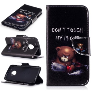 Pattern Printing Wallet Leather Stand Case for Motorola Moto G5 Plus - Brown Bear