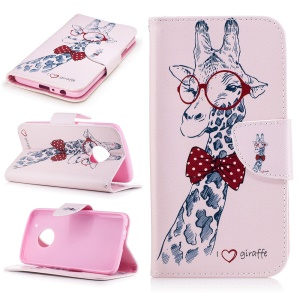 Pattern Printing Wallet Leather Stand Cover for Motorola Moto G5 Plus - Adorable Giraffe Wearing Glasses