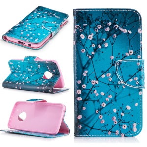 Pattern Printing Wallet Leather Magnetic Case for Motorola Moto G5 Plus - Tree with Flowers