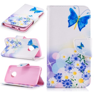 Pattern Printing Wallet Leather Mobile Phone Case for Motorola Moto G5 Plus - Blue Butterfly and Flowers