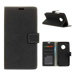 For Motorola Moto X 2017/Moto G5 Plus Cross Texture Wallet Stand Leather Case Cover - Black