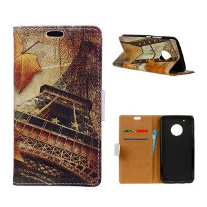 Patterned Wallet Leather Cell Phone Case for Motorola Moto X 2017/Moto G5 Plus - Eiffel Tower and Maple Leaves