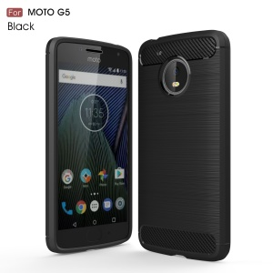 Brushed TPU Carbon Fiber Drop-proof Phone Case for Motorola Moto G5 - Black