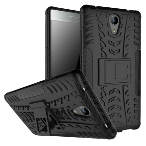 Tyre Pattern 2-In-1 Mobile Case PC + TPU with Kickstand for Lenovo Phab2 - Black