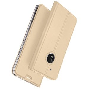 Stand Leather Shell Cover Card Holder for Motorola Moto G5 Plus - Gold