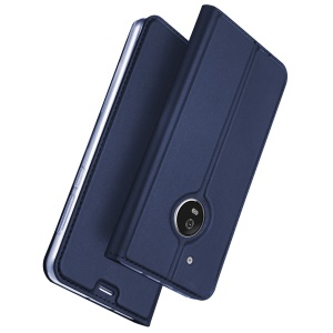 PU Leather Case with Stand Card Slot for Motorola Moto G5 Plus - Dark Blue