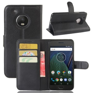 Litchi Grain Wallet Stand Leather Mobile Case for Motorola Moto G5 - Black