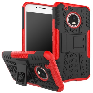 Cool Tire Pattern Kickstand PC + TPU Cellphone Cover for Motorola Moto G5 Plus - Red