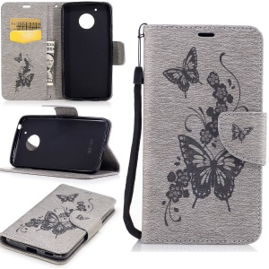 Butterfly Flower Imprinted Leather Wallet Case with Lanyard for Motorola Moto G5 - Grey