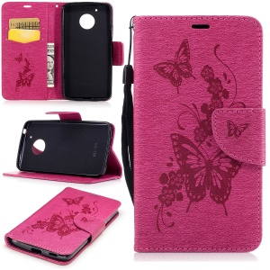 Butterfly Flower Imprinted Leather Flip Cover with Lanyard for Motorola Moto G5 - Rose