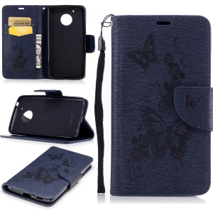 Butterfly Flower Wallet Leather Cover with Lanyard for Motorola Moto G5 - Dark Blue