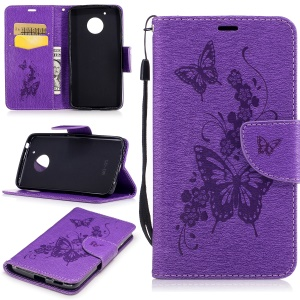 Imprinted Butterfly Flower Leather Stand Card Slots Case for Motorola Moto G5 - Purple