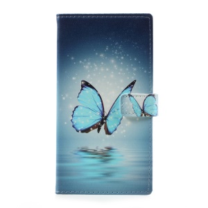 Pattern Printing Leather Wallet Cover for Motorola Moto G5 Plus - Blue Butterfly