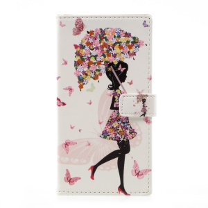 Patterned Wallet Stand Leather Flip Phone Cover for Motorola Moto G5 Plus - Flowered Girl Holding Umbrella