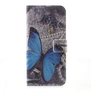 Patterned Leather Case with Wallet Slots for Motorola Moto G5 Plus - Blue Butterfly