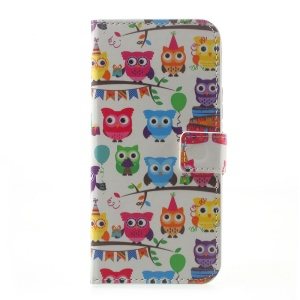 Printing Pattern Leather Case Card Holder for Motorola Moto G5 Plus - Lovely Colored Owls