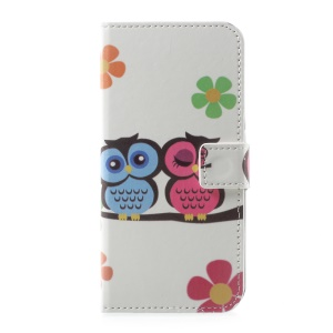 Pattern Printing Stand Card Slots Leather Case for Motorola Moto G5 Plus - Owl Lovers
