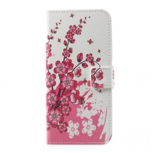 Pattern Printing Leather Wallet Phone Case for Motorola Moto G5 Plus - Plum Blossom