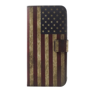 Printing Pattern PU Leather Wallet Shell for Motorola Moto G5 Plus - Vintage US Flag
