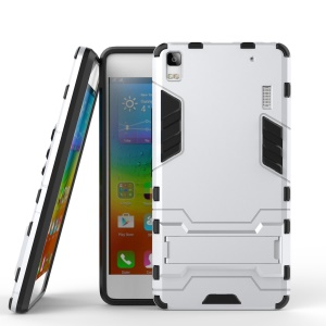 Cool Guard PC TPU Hybrid Phone Case with Kickstand for Lenovo A7000 / A7000 Plus/ K3 Note - Silver