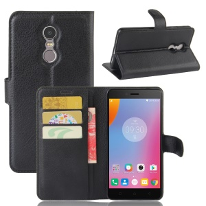 Litchi Texture Leather Wallet Stand Phone Cover for Lenovo K6 Note - Black